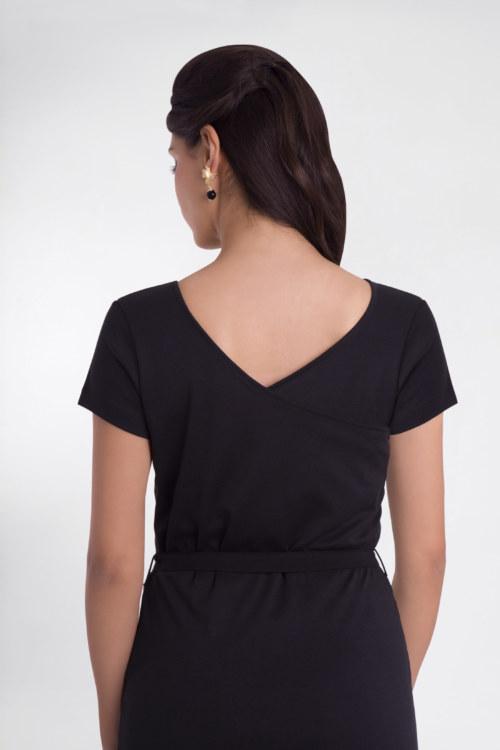Robe manches courtes noir en coton Pima biologique décolleté v au dos vu de dos collection été Bombón de algodón