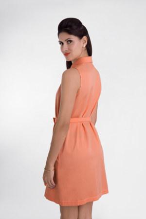Robe chemisier sans manches en coton Florida couleur papaye ceinture amovible réglable vue de dos collection été Bombón de algodón