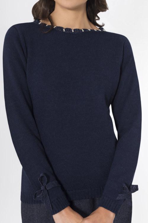 Pull doux en laine de baby alpaga bleu marine vue de face collection hiver Bombón de algodón