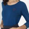 T-shirt manches longues bleu en coton Pima biologique coeur rouge brodé sur le devant vue de face collection hiver Bombón de algodón