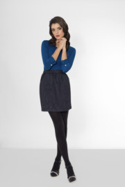 T-shirt manches longues en coton Gigi couleur bleu coeur rouge brodé sur le devant vue de face collection hiver Bombón de algodón