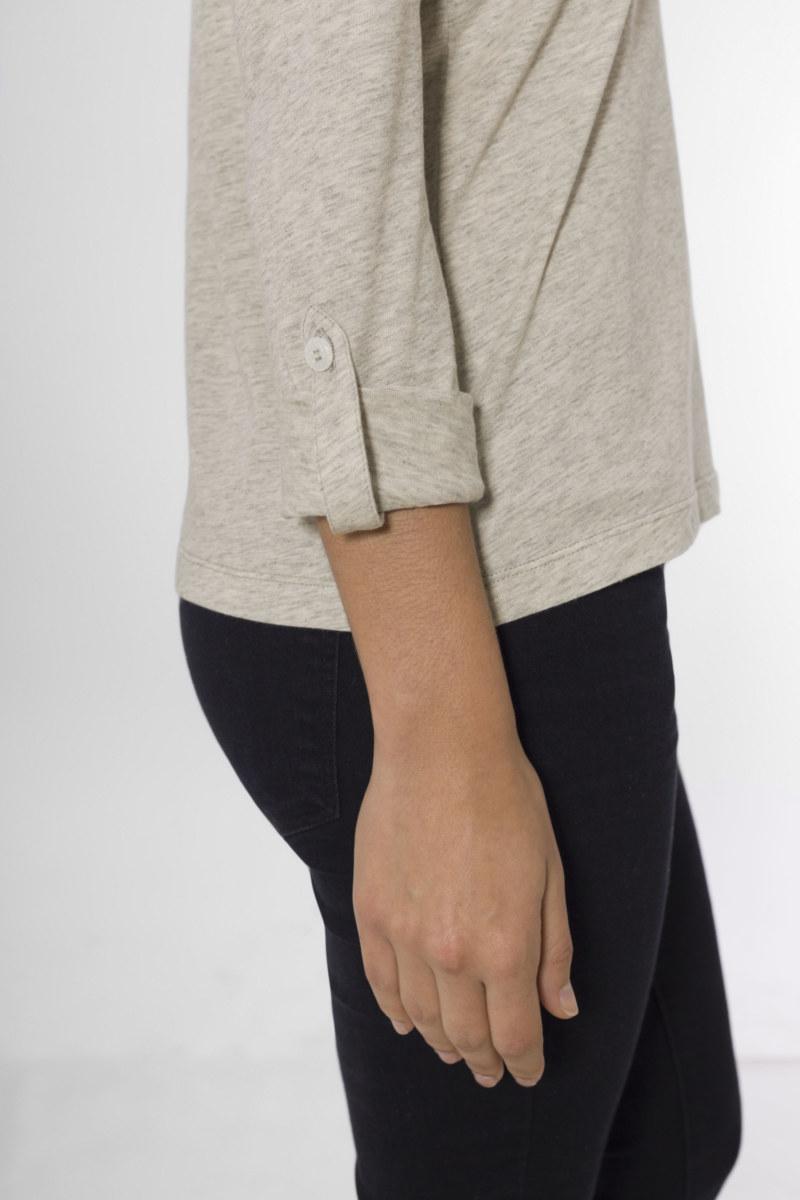 T-shirt manches longues gris chiné en coton Pima biologique manches retroussables vue de côté collection hiver Bombón de algodón