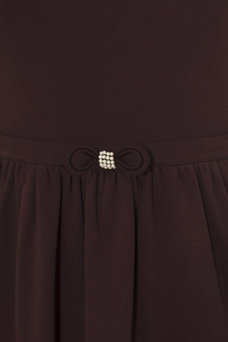 Robe manches courtes brun rouge en coton Pima biologique noeud papillon sur ceinture vue de face collection hiver Bombón de algodón