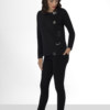 Sweat en molleton noir en coton Pima biologique motifs argentés brodés sur le devant boutonnage sur épaule gauche vue de face collection hiver Bombón de algodón