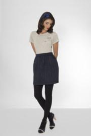 T-shirt manches courtes en coton Gemma couleur gris lapin imprimé sur poche vue de face collection hiver Bombón de algodón
