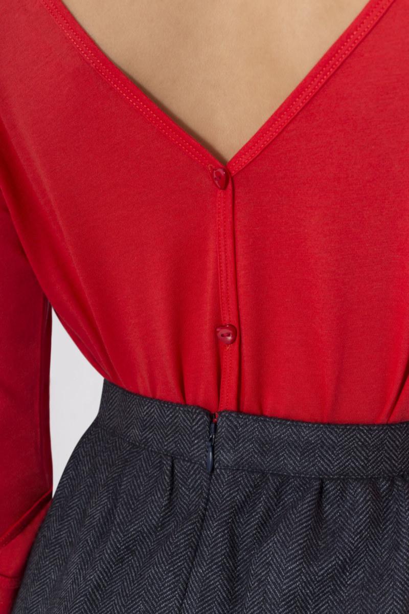 T-shirt manches 3/4 rouge en coton Pima biologique décolleté v au dos vue de dos collection hiver Bombón de algodón