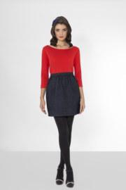 T-shirt manches 3/4 en coton Goldie coton rouge décolleté v au dos vue de face collection hiver Bombón de algodón