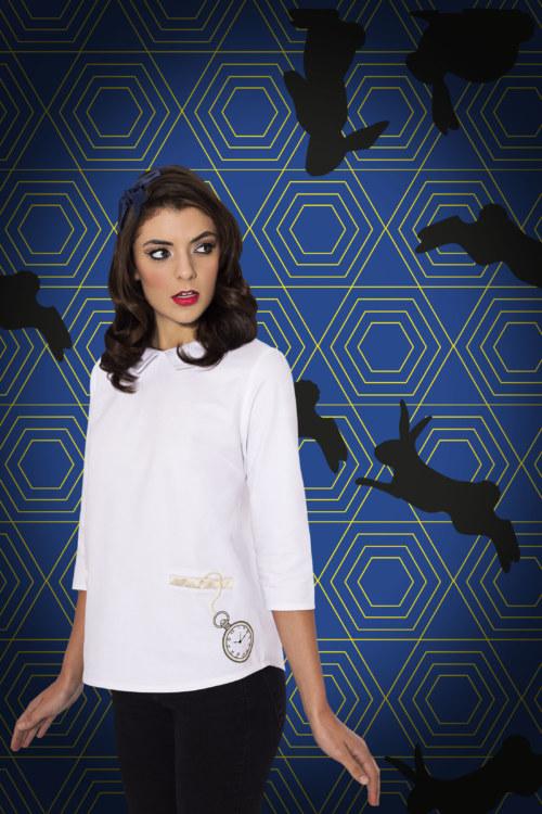Chemisier manches trois quart en coton Gilda couleur blanc montre de poche imprimé sur le devant vue de face collection hiver Bombón de algodón