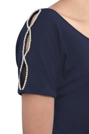 Robe droite manches courtes en coton Camelia couleur bleu marine ouvertures sur les manches avec perles brodées main vue de face collection hiver Bombón de algodón