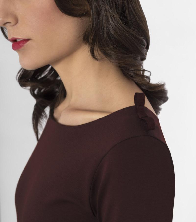 T-shirt manches 3/4 rouge brun en coton Pima biologique noeud papillon sur épaules vue de face collection hiver Bombón de algodón