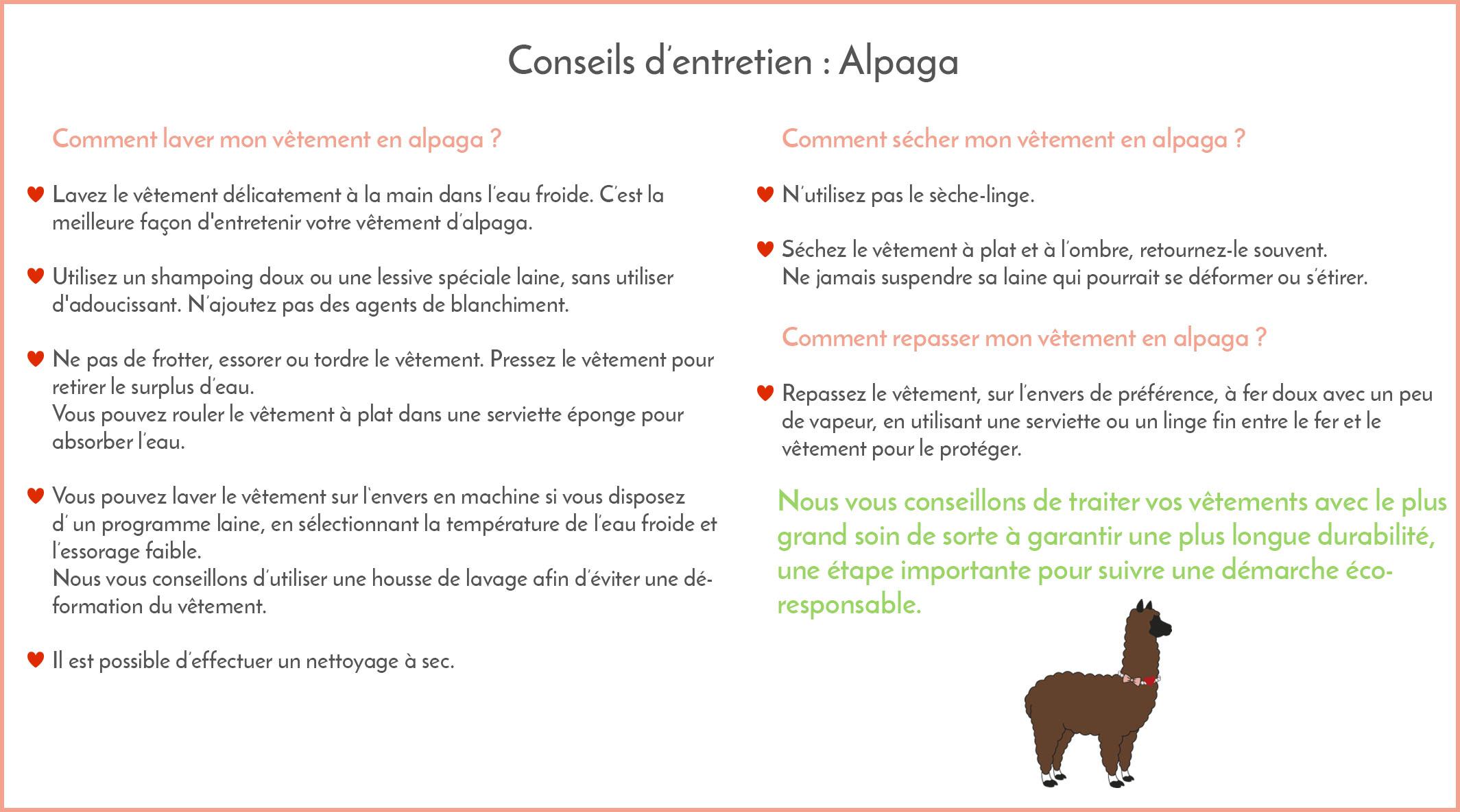 Conseils entretien alpaga Bombón de algodón