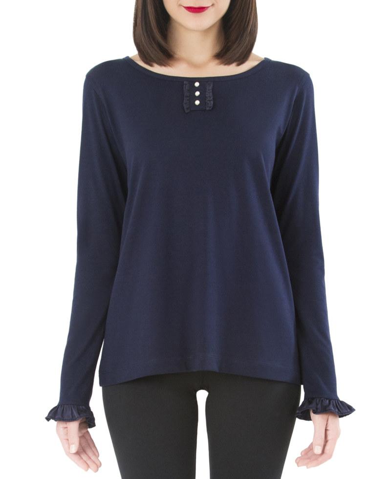 T-shirt bleu marine en coton Pima biologique manches longues volants en soir au niveau des poignets des manches vue de face collection hiver Bombón de algodón