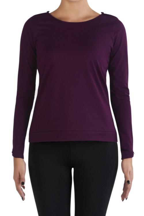 T-shirt manches longues aubergine en coton Pima biologique petite ouverture au niveau de l'épaule. Fabriqué au Pérou