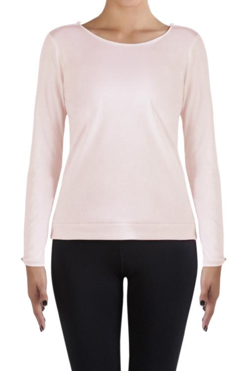 T-shirt manches longues rose clair en coton Pima biologique petite ouverture au niveau des épaules vue de face collection hiver Bombón de algodón