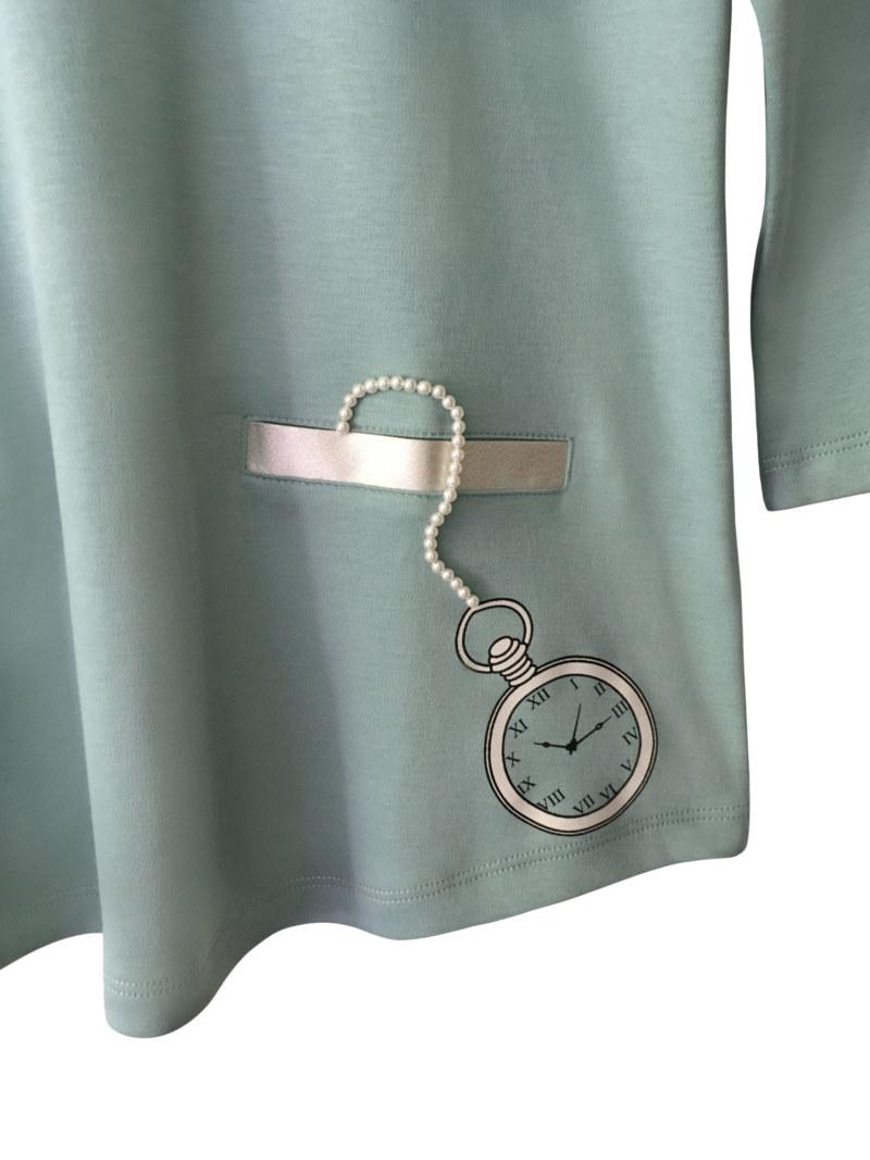 T-shirt manches 3/4 aqua en coton Pima biologique montre de poche imprimé sur le devant vue de face collection hiver Bombón de algodón