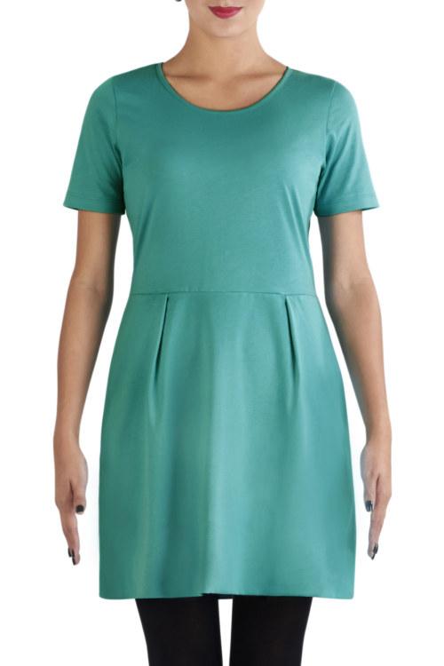 Robe manches courtes turquoise en coton Pima biologique noeuds papillon au dos vue de face collection été Bombón de algodón