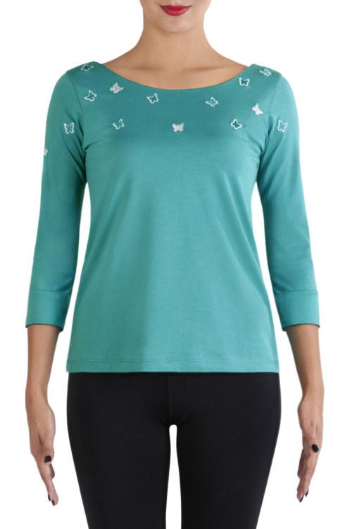 T-shirt manches 3/4 turquoise en coton Pima biologique papillons argentés brodés vue de face collection été Bombón de algodón