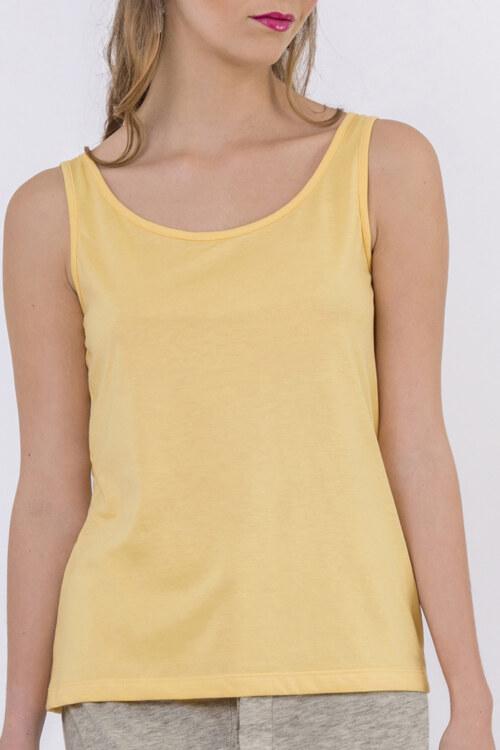 Haut jaune coton biologique basique sans manches vue de face collection été Bombón de algodón