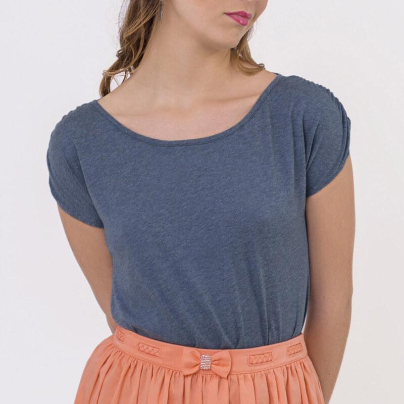 T-shirt bleu coton biologique manches courtes fronces sur manches vue de face collection été Bombón de algodón