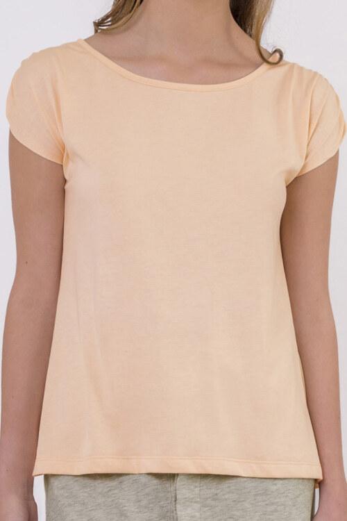 T-shirt manches courtes pêche en coton Pima biologique fronces sur manches vue de face collection été Bombón de algodón