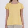 T-shirt manches courtes jaune maïs en coton Pima biologique motifs poissons et coeurs en strass sur manches vue de face collection été Bombón de algodón