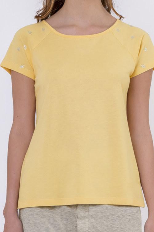 T-shirt jaune coton biologique manches courtes motifs poissons et coeurs en strass sur manches vue de face collection été Bombón de algodón
