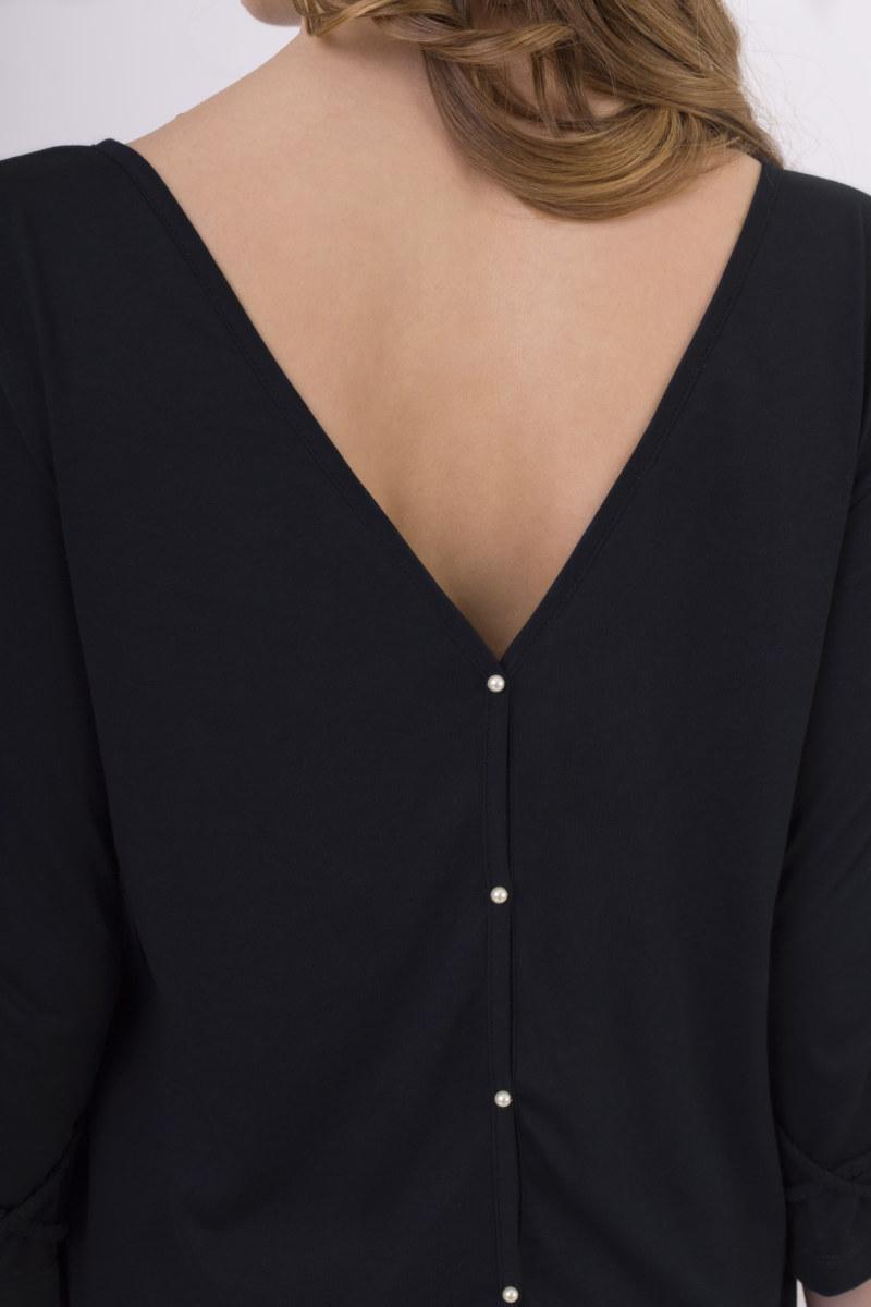 T-shirt décolleté dos coton biologique bleu marine manches 3/4 tresses croisées sur bas des manches façon bracelet vue de dos collection été Bombón de algodón