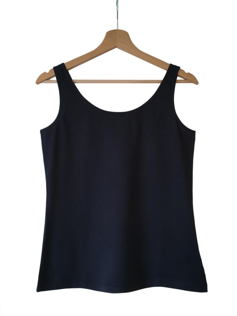 Haut bleu coton Pima biologique basique sans manches vue de face collection été Bombón de algodón
