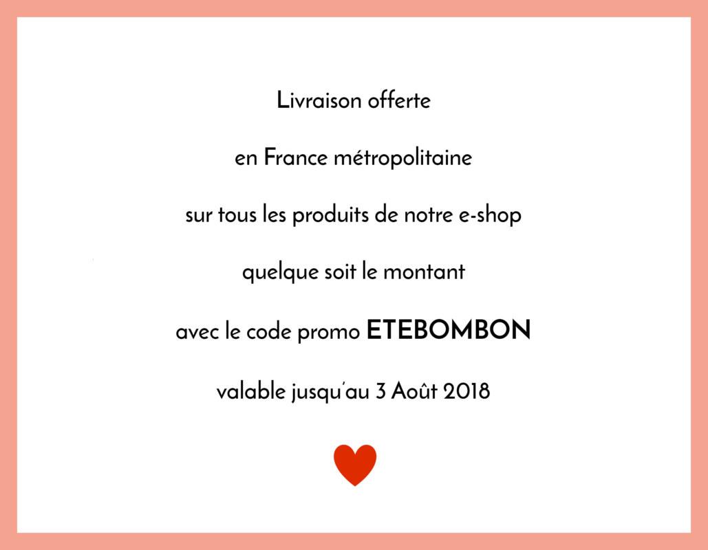 Livraison offerte en France métropolitaine code promo marque de vêtements coton bio Bombón de algodón