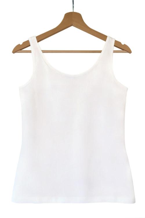 Haut sans manches blanc cassé en coton Pima biologique vue de face collection été Bombón de algodón