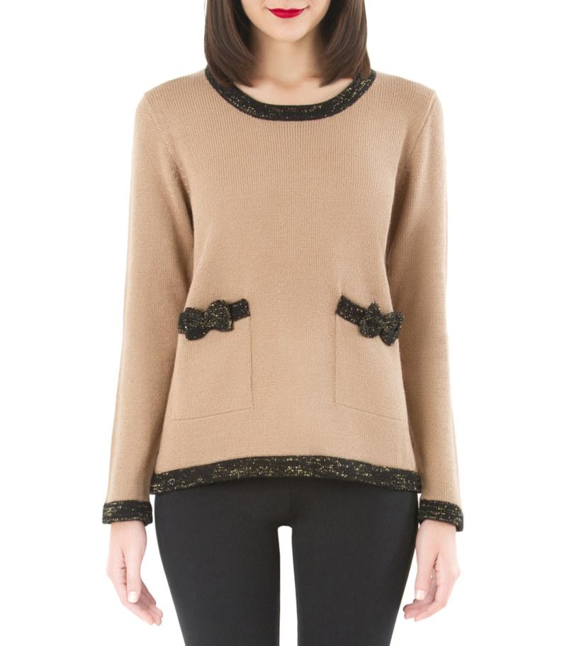 Pull beige en laine et noir de baby alpaga poches avec noeuds papillon sur le devant vue de face collection hiver Bombón de algodón