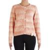 Cardigan épais en laine de baby alpaga papaye noeud papillon blanc cassé vue de face collection hiver Bombón de algodón
